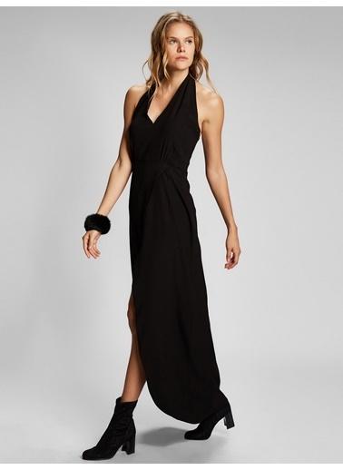 Vekem-Limited Edition Boyundan Bağlamalı Sırt Dekolteli Ve Yırtmaçlı Elbise Siyah